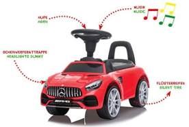 Jamara 460607 Rutscher Mercedes-Benz AMG GT – Kofferraum unter der Sitzfläche, Schub- und Haltegriff, Hupe und Sound am Lenkrad, originalgetreue Optik, Kippschutz, rot