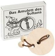 Bartl 102287 Mini-Holz-Puzzle Das Amulett des Sultans aus einem kleinen Holzamulett und Einer Schnur mit 2 Holzkugeln