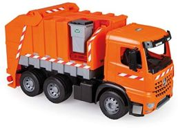 Lena 02168 Starke Riesen Müllwagen Mercedes Benz Arocs, Giga Trucks Müllfahrzeug ca. 74 cm, robuster Müll LKW orange, XXL Müllauto mit Funktion und 2 Mülltonnen, für Kinder ab 3 Jahre