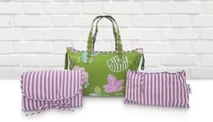 Belily-World Venice Green Shopper Bag - Wickeltasche Set