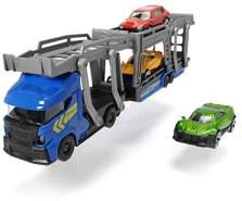 Dickie Toys Car Carrier, Autotransporter für 3 Autos, inkl. 3 Spielzeugautos, 2 verschiedene Ausführungen, Länge 28 cm, für Kinder ab 3 Jahren