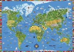moll Schreibunterlage Weltkarte Erweiterung Kinderschreibtisch, gemischt, 42 x 59 x 0.3 cm