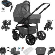 Friedrich Hugo Berlin | 4 in 1 Kombi Kinderwagen + ISOFIX | GEL Reifen | Farbe: Dark Grey and Grey Night