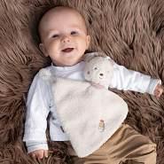 Fehn 060140 Schmusetuch Bär | Schnuffeltuch mit Bär-Köpfchen zum Greifen, Fühlen, Knuddeln und Liebhaben | Für Babys und Kleinkinder ab 0+ Monaten, Bär, Bruno