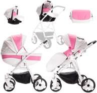 Friedrich Hugo Easy Comfort | 3 in 1 Kombi Kinderwagen Komplettset | Farbe: White Pink & Leatherette