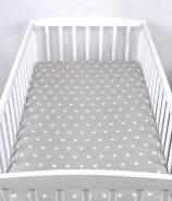 BABYLUX Spannbetttuch 70 x 140 cm Baby SPANNBETTLAKEN Baumwolle Kinderbett 91. Sterne Grau