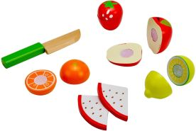 Idena 4100113 - Kleine Küchenmeister Obst Mix aus Holz, für Spielküche und Kaufmannsladen, ab 3 Jahre, ca. 10 x 16 x 8 cm