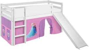 Lilokids 'Jelle' Spielbett 90 x 190 cm, Eiskönigin Lila, Kiefer massiv, mit Rutsche und Vorhang