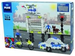 Plus-Plus 9603762 Geniales Konstruktionsspielzeug, Basic, Polizei, Bausteine-Set inklusive Basisplatten, 760 Teile