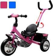 Kinder Dreirad | abnehmbare Lenkstange | Schalensitz | Sicherheitsgurt | Kinderdreirad Pink