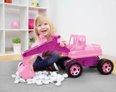 Lena 02137 - Starke Riesen Bagger für Mädchen, rosa, ca. 80 cm, großer Schaufelbagger mit solider Tragkraft und funktionierender Schaufel, robuster Spielzeugbagger für Kinder ab 3 Jahre, lose