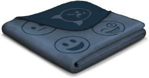 biederlack Kuscheldecke 150x200 cm I Chill Time-What's Now I kuschelige Wohndecke für Kinder und Teenies mit coolen Smileys I Sofadecke aus dralon I Made in Germany, Acryl, dunkelblau, blau