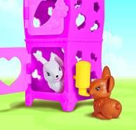 Simba 105733065 - Evi Love Cute Rabbit House / mit zweistöckigem Hasenstall und Hasen / Zubehör / Ankleidepuppe / 12cm, für Kinder ab 3 Jahren
