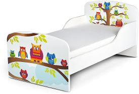 Leomark Kinderbett 70x140 cm, Eulen, mit Matratze und Lattenrost