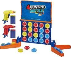 4 gewinnt Battle Spiel, powered by Nerf, enthält Nerf Blaster und Nerf Darts, Spiel für Kinder ab 8 Jahren
