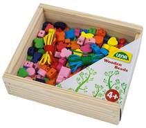Lena 32020 - Bastelset Holzfädelperlen 164 Teile, 160 Fädelperlen aus Holz und 4 Schnüre in wiederverschließbarer Holzkassette, Holzperlen Set für Kinder ab 4 Jahre, Perlen Set für Schmuckketten