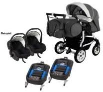 Adbor Duo Spezial 3in1 Zwillingskinderwagen mit Babyschalen und 2 Isofix Stationen, Zwillingswagen, Zwillingsbuggy Farbe D-5 schwarz/weiss