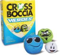 Crossboccia Doublepack Heroes, 2x3 gleichfarbige Stoffsäckchen, verschiedene Designs, 8cm mit Granulat gefüllt, Set für 2 Spieler, inkl. Zielkugel, in 4-Farb Karton mit Regelwerk