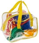 Idena 40113 - Sandspielzeug Set 8 teilig bestehend aus Eimer, 2 Sieben, Gießkanne, 2 Förmchen, kleiner Harke und kleiner Schaufel, bunt, in praktischer Tasche, zum Spielen am Strand und im Sandkasten