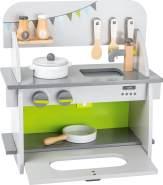 small foot 11158 Kinderküche 'Kompakt' aus Holz, mit Backofen, Drehknöpfen, Topf, Pfanne und Küchenhelfer, ab 3 Jahren
