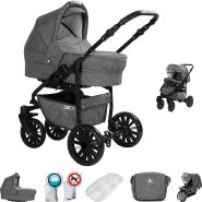 Friedrich Hugo Berlin | 2 in 1 Kombi Kinderwagen | Luftreifen | Farbe: Grey and Grey Night