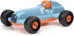 Schuco 450987200-Studio Racer Blue-Pierre #8, my1stSchuco, Spielauto für Kinder ab 1 Jahr, Rennwagen Spielzeug ab 12 Monaten, blau/orange