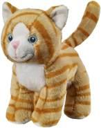Bauer Spielwaren I Like My Planet - Katze getigert: Kuscheltier aus softem Plüsch, hergestellt aus recycelten PET-Flaschen, 100 % recycelt, stehend, 15 cm, braun (12920)