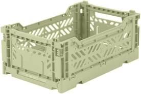 AY-KASA hellgrüne, Faltbare Aufbewahrungsbox mit 26,6x17,1x10,5 cm und 4 Liter Volumen - Bunte Klappbox zum Einkaufen und Aufbewahren - Stabile Faltbox aus Plastik - Organizer Box