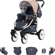 Friedrich Hugo Berlin | 3 in 1 Kombi Kinderwagen Komplettset | GEL Reifen | Farbe: Dark Blue and Beige Day