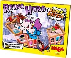 """Haba 302808 - Rhino Hero - Super Battle, spannendes 3D-Stapelspiel für Kinder ab 5 Jahren, Geschicklichkeitsspiel zum Bestseller Rhino Hero, empfohlen von der """"Kinderspiel des Jahres""""-Jury"""