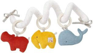 Fehn 056136 Activity-Spirale fehnNATUR – Stoff-Spirale mit Lernfunktionen aus zertifizierter Bio-Baumwolle (kbA) – fördert Babys Sinne zuhause & unterwegs – für Babys ab Geburt