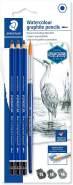 Staedtler wasservermalbare Künstler-Bleistifte Mars Lumograph aquarell, Sechskantform, hohe Bruchfestigkeit, Premium-Bleistifte, 3 Härtegrade, 1 Rundpinsel, 100A SBK4