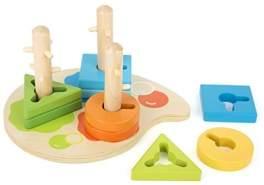 Small Foot 11190 Motorikspiel Formen und Farben aus Holz, Lernspielzeug Spielzeug, Mehrfarbig