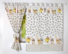 BabyLux 'Eule' Vorhänge mit Schlaufen, beige