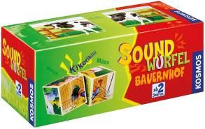 KOSMOS 697365 - Soundwürfel Bauernhof, Lernspielzeug mit Geräuschen, für Kinder ab 2 Jahre, Spielzeug für Kleinkinder, Geräusche von Pferd, Kuh, Schaf, Gans, Hahn, Schwein
