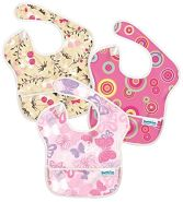 Bumkins Super Lätzchen, wasserdicht, waschbar, flecken- und geruchsresistent, 6–24 Monate, 3 Stück, rosa Kreise, Schmetterlinge, Blumenmuster