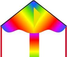 Ecoline 102132 - Simple Flyer Radiant Rainbow 85cm Kinderdrachen Einleiner, ab 5 Jahren, 42x85cm und 1.5m Drachenschwanz, inkl. 17kp Polyesterschnur 25m auf Griff, 2-5 Beaufort