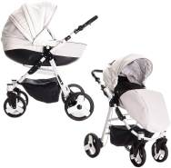 Friedrich Hugo Easy Comfort | 2 in 1 Kombi Kinderwagen | Farbe: White Black & Leatherette