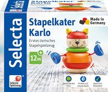 Selecta 62042 Stapelkater Karlo, Stapelspielzeug aus Holz, 10 cm