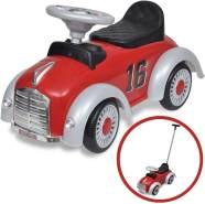 Rotes Retro Kinder-Aufsitz-Auto mit Schubstange