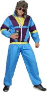 Foxxeo 80er Jahre Kostüm für Erwachsene Premium 80s Trainingsanzug Assianzug Assi - Herren Größe S-XXXXL - Fasching Karneval Anzug, Farbe blau-lila-gelb, Größe: XXXL