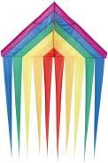 HQ 106230 - Delta Rainbow Kinderdrachen Einleiner, ab 5 Jahren, 200x134cm, inkl. 17kp Polyesterschnur 40m auf Spule, 2-5 Beaufort