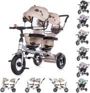 Chipolino Tricycle Dreirad 2Play zwei Kinder bis 50 kg Luftreifen Lenkstange beige