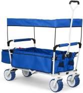 'The Blue Supreme' Bollerwagen Handwagen faltbar 68kg Sonnendach Blau