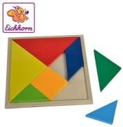 Eichhorn 100003451 - Tangram, Legespiel mit 7 verschiedenen geometrischen und bunten Holzformen, inkl. Anleitung, 8-tlg.