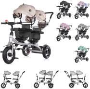Chipolino Tricycle Dreirad 2Play zwei Kinder bis 50 kg Luftreifen Lenkstange beige-schwarz