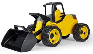 Lena 02142 Giga Trucks Schaufellader Pro schwarz und gelb, Starke Riesen Radlader ca. 67 cm, modernes Baufahrzeug im Schaukarton, großes Baustellen Spielfahrzeug für Kinder ab 3 Jahre