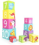 Small Foot 11205 Stapelwürfel Wildtiere aus stabilier, Leichter Pappe, Lernspielzeug Spielzeug, Mehrfarbig