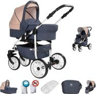 Friedrich Hugo Berlin | 2 in 1 Kombi Kinderwagen | GEL Reifen | Farbe: Dark Blue and Beige Day