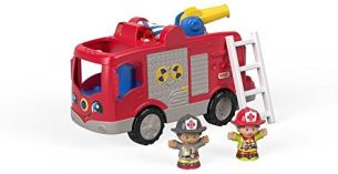 Fisher-Price FPV31 Little People Feuerwehr interaktives Fahrzeug mit Geräuschen Sätze und Liedern inkl. 2 Spielfiguren, ab 12 Monaten deutschsprachig
